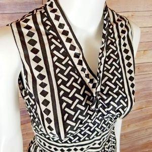 Vintage Maxi Dress Lattice Tribal Geometric Glam